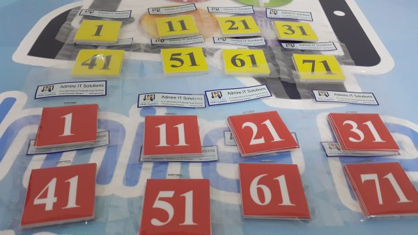 Table Number Stickers